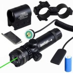 Vokul® Shockproof 532nm Tactical Green Dot Laser Sight Rifle Gun Scope w/ Rail & Barrel Mount Cap Pressure Switch
