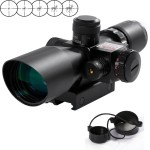 Vokul® 2.5-10x40 Tactical Rifle Scope Red & Green Laser Dual Illuminated Mil-dot w/ Rail Mount