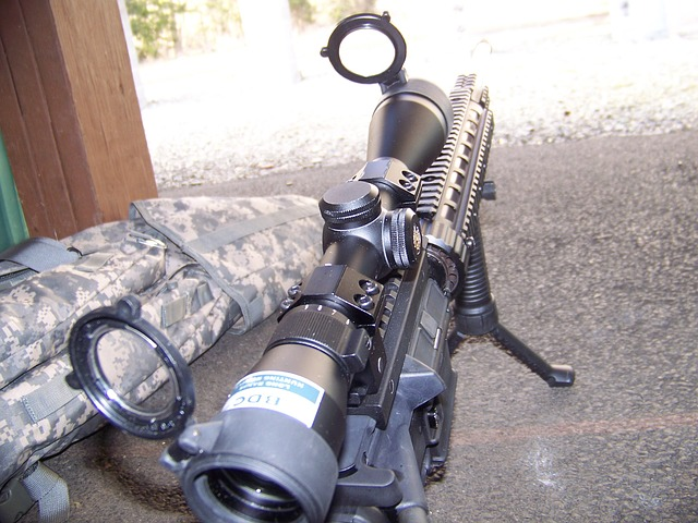 a scope attached to the rifle